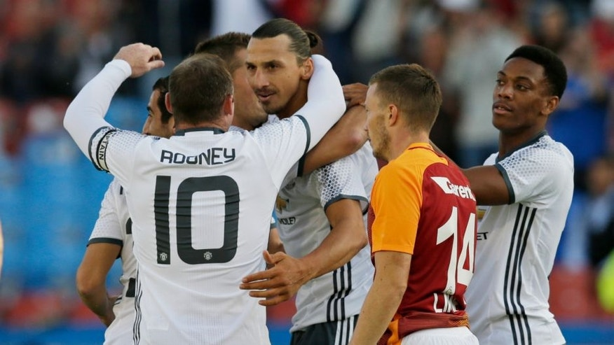 Football Soccer - Galatasaray v Manchester United - Pre Season Friendly - Ullevi Stadium, Gothenburg, Sweden - 30/7/16 Manchester United's Zlatan Ibrahimovic celebrates with team mates after scoring their first goal Action Images via Reuters / Henry Browne Livepic