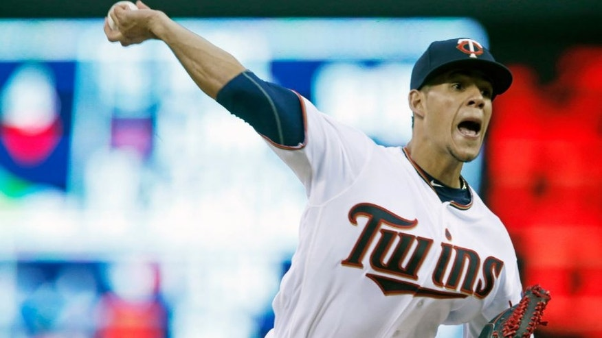 Minnesota Twins pitcher Jose Berrios throws against the Baltimore Orioles in the first inning.
