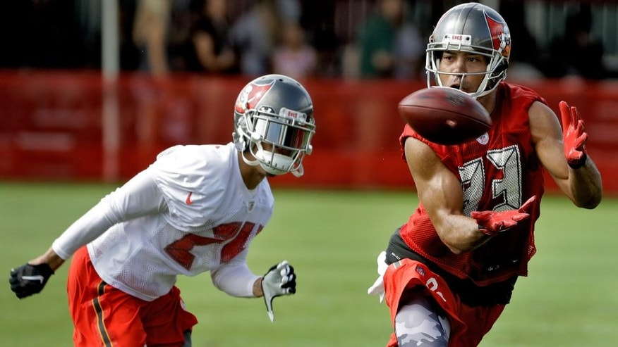 Tampa Bay Buccaneers wide receiver Vincent Jackson (83) makes a catch in front of cornerback Brent Grimes (24) during an NFL football teams training camp practice Friday, July 29, 2016, in Tampa, Fla. (AP Photo/Chris O'Meara)