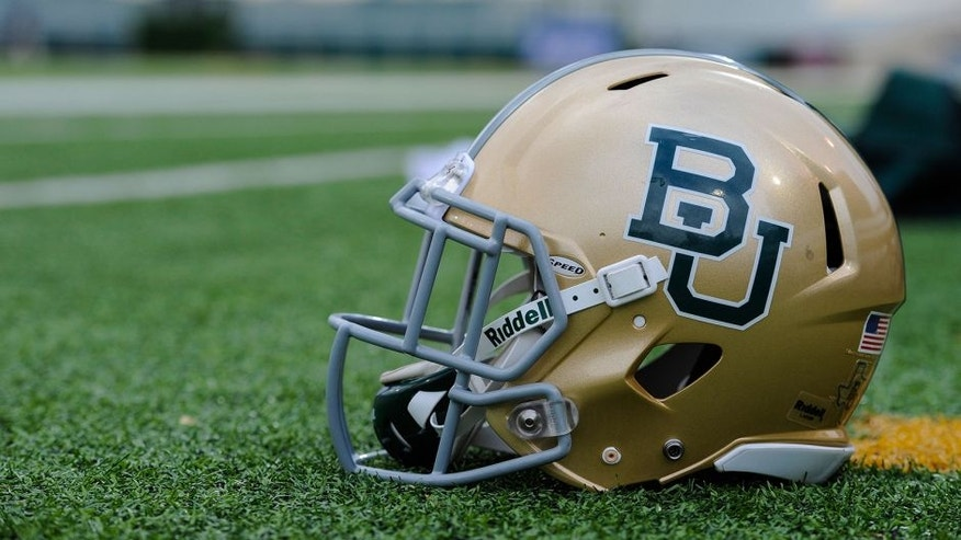 Dec 1, 2012; Waco, TX, USA; A view of a Baylor Bears helmet before the game between the Bears and the Oklahoma State Cowboys at Floyd Casey Stadium. The Bears defeated the Cowboys 41-34. Mandatory Credit: Jerome Miron-USA TODAY Sports