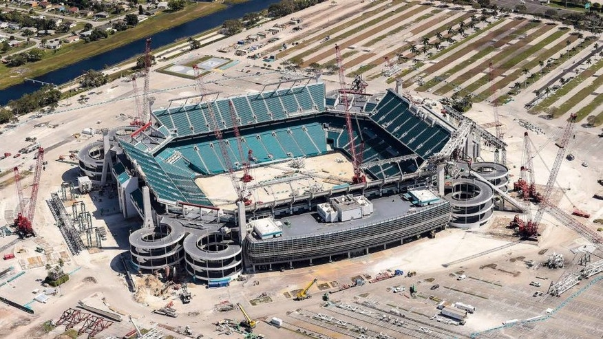MIAMI GARDENS, FL - MARCH 04: An aerial view of construction on the Miami Dolphins Sun Life Stadium, as seen from the MetLife Snoopy One Blimp during the second round of the World Golf Championships-Cadillac Championship on March 4, 2016 in Miami Gardens, Florida. (Photo by Chris Condon/PGA TOUR/MetLife Blimp) MANDATORY PHOTO CREDIT: Chris Condon/PGA TOUR/MetLife Blimp