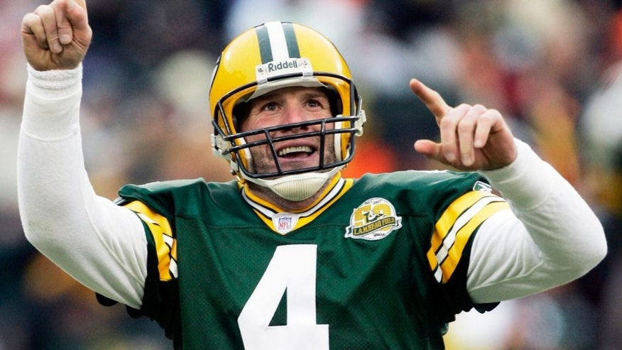 <p>In this Dec. 9, 2007 file photo, Green Bay Packers quarterback Brett Favre reacts to a 46-yard touchdown pass during the second half of an NFL football game against the Oakland Raiders in Green Bay, Wis.</p>