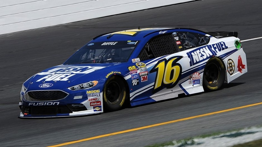 LOUDON, NH - JULY 15: Greg Biffle, driver of the #16 NESN Fuel Ford, practices for the NASCAR Sprint Cup Series New Hampshire 301 at New Hampshire Motor Speedway on July 16, 2016 in Loudon, New Hampshire. (Photo by Jonathan Moore/Getty Images)