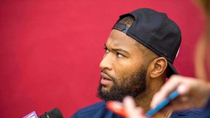Jul 21, 2016; Las Vegas, NV, USA; USA center DeMarcus Cousins (12) speaks to media before practice at Mendenhall Center. Mandatory Credit: Joshua Dahl-USA TODAY Sports