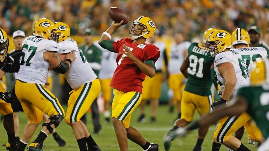 <p>Green Bay Packers quarterback Brett Hundley passes the football during training camp, Sunday, July 31.</p>