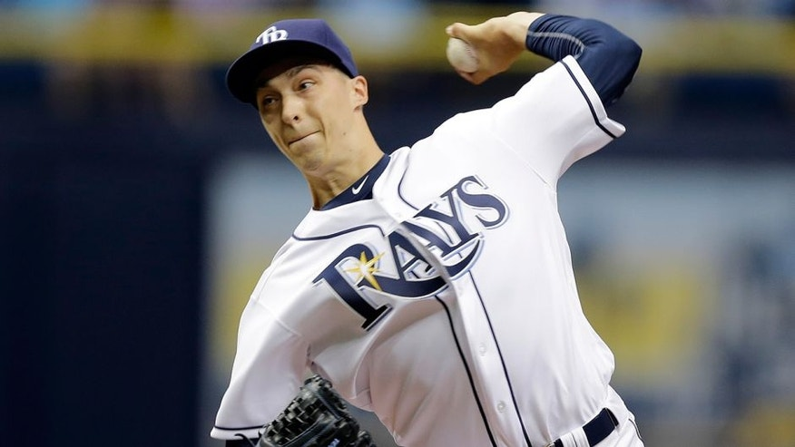 Tampa Bay Rays pitcher Blake Snell delivers to the Seattle Mariners during the first inning of a baseball game Thursday, June 16, 2016, in St. Petersburg, Fla. (AP Photo/Chris O'Meara)