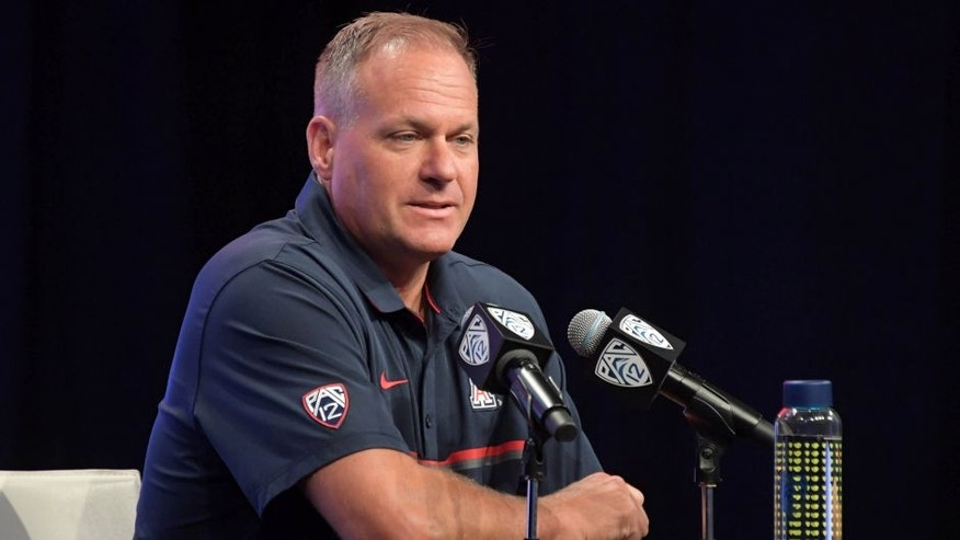 Jul 14, 2016; Hollywood, CA, USA; Arizona Wildcats coach Rich Rodriguez during Pac-12 media day at Hollywood & Highland. Mandatory Credit: Kirby Lee-USA TODAY Sports