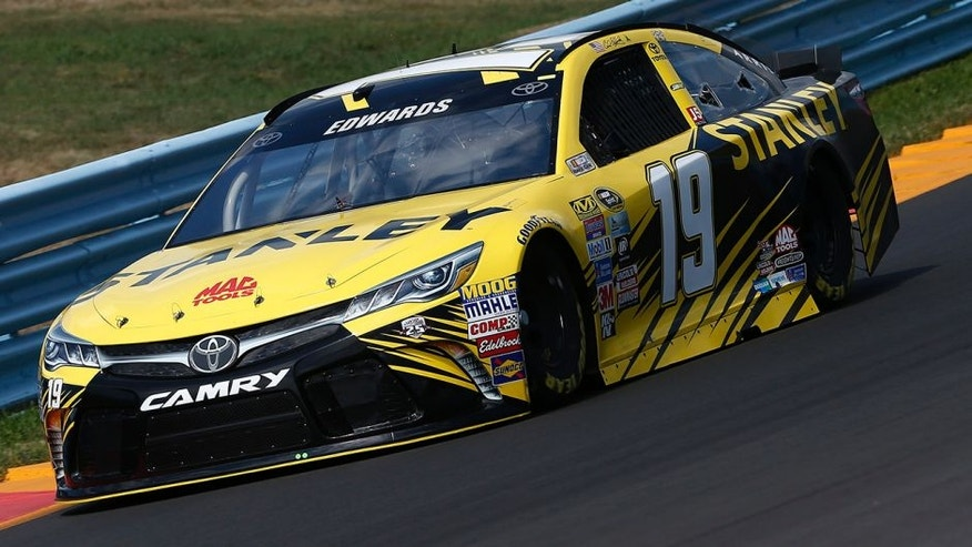WATKINS GLEN, NY - AUGUST 05: Carl Edwards, driver of the #19 Stanley Toyota, drives during practice for the NASCAR Sprint Cup Series Cheez-It 355 at Watkins Glen International on August 5, 2016 in Watkins Glen, New York. (Photo by Jeff Zelevansky/NASCAR via Getty Images)