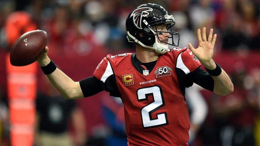 Jan 3, 2016; Atlanta, GA, USA; Atlanta Falcons quarterback Matt Ryan (2) passes the football against the New Orleans Saints during the second quarter at the Georgia Dome. Mandatory Credit: Dale Zanine-USA TODAY Sports
