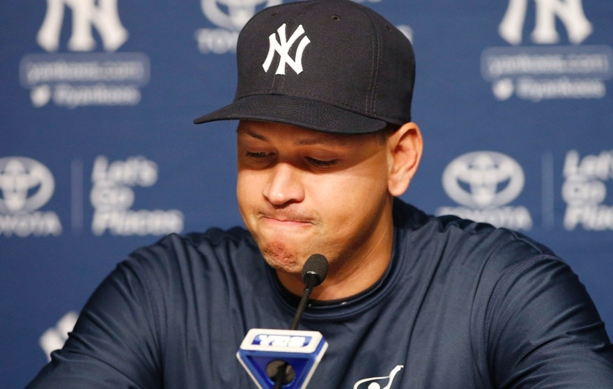 New York Yankees' Alex Rodriguez pauses as he announces that Friday, Aug. 12, 2016, will be his last game as a player during a news conference at Yankee Stadium in New York, Sunday, Aug. 7, 2016. He will continue on in a role as a special advisor and instructor to the team through Dec. 31, 2017. (AP Photo/Kathy Willens)