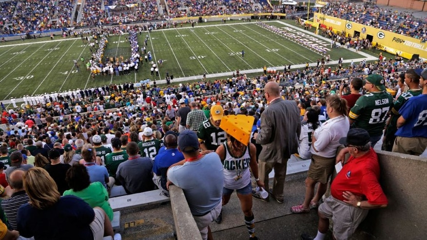 Fans leave Tom Benson Hall of Fame Stadium after it was announced that the preseason game between the Green Bay Packers and the Indianapolis Colts was cancelled due to unsafe field conditions on Sunday in Canton, Ohio.
