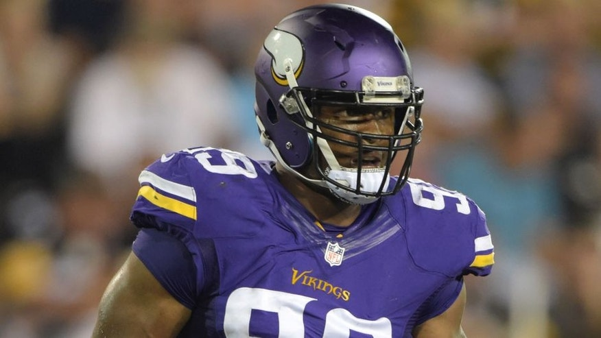 <p>Aug 9, 2015; Canton, OH, USA; Minnesota Vikings defensive end Danielle Hunter (99) looks on against the Pittsburgh Steelers in the 2015 Hall of Fame game at Tom Benson Hall of Fame Stadium. Mandatory Credit: Kirby Lee-USA TODAY Sports ,Aug 9, 2015; Canton, OH, USA; Minnesota Vikings defensive end Danielle Hunter (99) looks on against the Pittsburgh Steelers in the 2015 Hall of Fame game at Tom Benson Hall of Fame Stadium. Mandatory Credit: Kirby Lee-USA TODAY Sports</p>