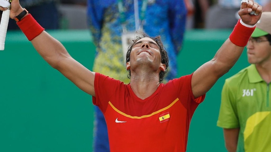 Spain's Rafael Nadal celebrates after defeating Italy's Andreas Seppi in the men's tennis competition at the 2016 Summer Olympics in Rio de Janeiro, Brazil, Tuesday, Aug. 9, 2016. (AP Photo/Vadim Ghirda)