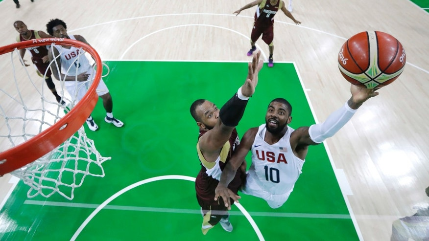 United States' Kyrie Irving at the 2016 Summer Olympics in Rio de Janeiro, Brazil, Monday, Aug. 8, 2016.