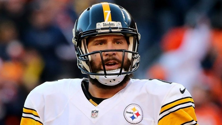 during the AFC Divisional Playoff Game at Sports Authority Field at Mile High on January 17, 2016 in Denver, Colorado.,DENVER, CO - JANUARY 17: Ben Roethlisberger #7 of the Pittsburgh Steelers looks toward the sideline during the AFC Divisional Playoff Game against the Denver Broncos at Sports Authority Field at Mile High on January 17, 2016 in Denver, Colorado. (Photo by Doug Pensinger/Getty Images)