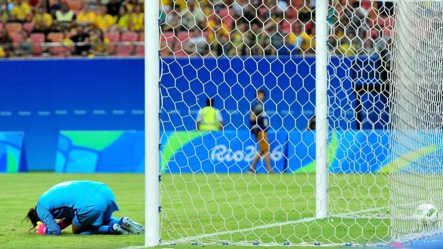 in the Women's Football First Round Group G match on Day 4 of the Rio 2016 Olympic Games at Amazonia Arena on August 9, 2016 in Rio de Janeiro, Brazil.