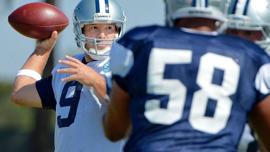 Dallas Cowboys quarterback Tony Romo (9) throws during an afternoon practice at training camp in Oxnard, Calif., on Friday, Aug. 5, 2016. (Max Faulkner/Fort Worth Star-Telegram/TNS via Getty Images)