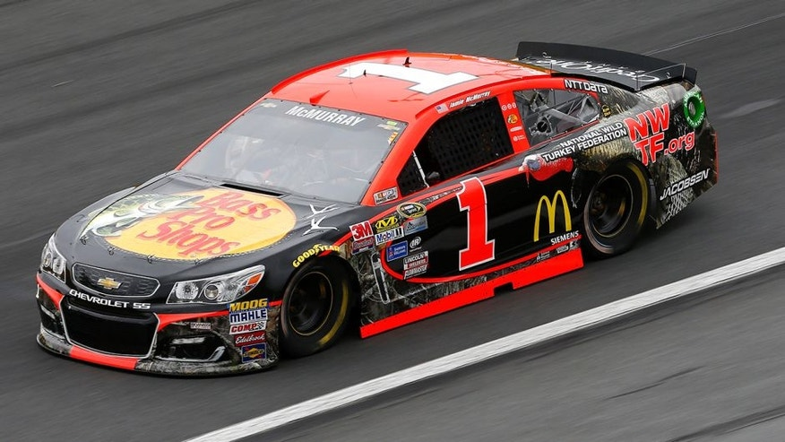 CHARLOTTE, NC - MAY 21: Jamie McMurray, driver of the #1 BassProShops/NationalTurkeyFoundation Chev, practices for the NASCAR Sprint Cup Series Sprint All-Star Race at Charlotte Motor Speedway on May 21, 2016 in Charlotte, North Carolina. (Photo by Jonathan Ferrey/NASCAR via Getty Images)