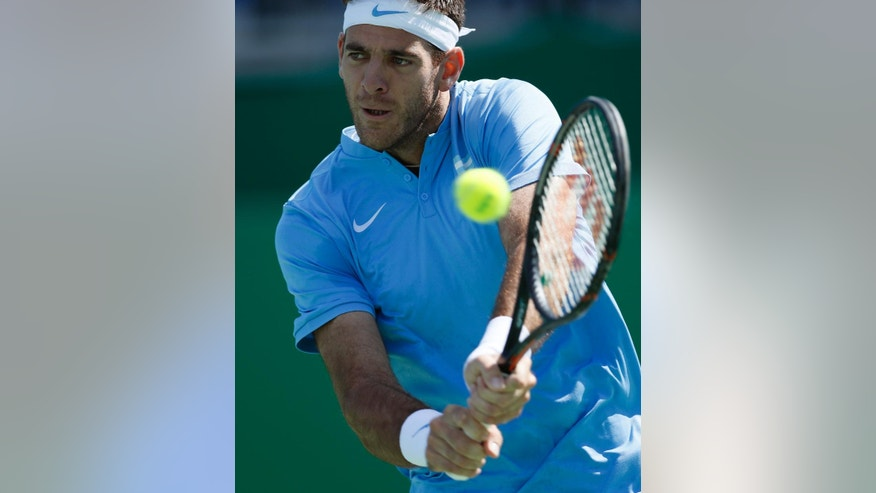 Argentina's Juan Martin del Potro returns Japan's Taro Daniel during the men's tennis competition at the 2016 Summer Olympics in Rio de Janeiro, Brazil, Thursday, Aug. 11, 2016. (AP Photo/Vadim Ghirda)