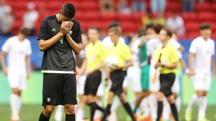 Montes Cesar laments the loss of Mexico to South Korea on August 10, 2016 in Brasilia, Brazil.
