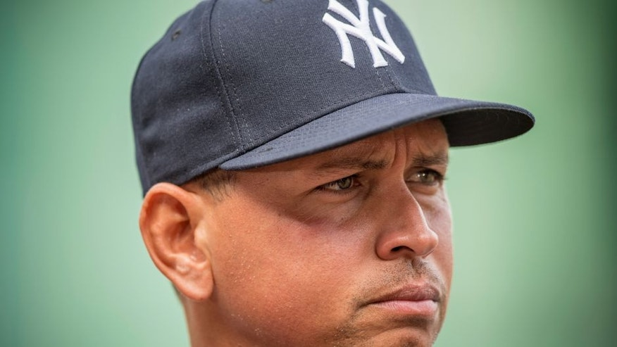 BOSTON, MA - AUGUST 10: Alex Rodriguez #13 of the New York Yankees looks on before a game against the Boston Red Sox on August 10, 2016 at Fenway Park in Boston, Massachusetts. (Photo by Billie Weiss/Boston Red Sox/Getty Images)