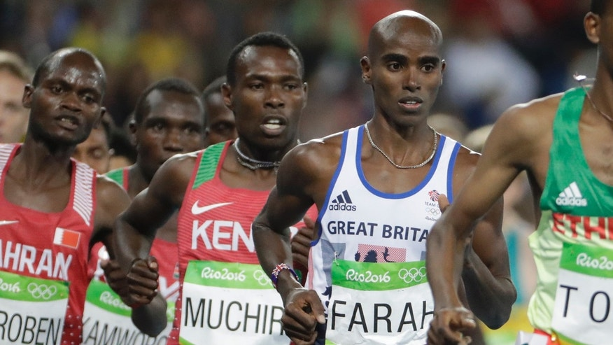 Aug. 13, 2016: Britain's Mo Farah competes in the men's 10,000-meter final during the athletics competitions of the 2016 Summer Olympics at the Olympic stadium in Rio de Janeiro, Brazil.