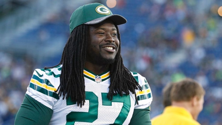 CANTON, OH - AUGUST 07: Eddie Lacy #27 of the Green Bay Packers looks on after the NFL Hall of Fame Game against the Indianapolis Colts was canceled due to poor field conditions at Tom Benson Hall of Fame Stadium on August 7, 2016 in Canton, Ohio. (Photo by Joe Robbins/Getty Images)