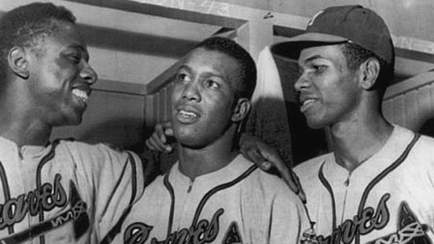 From left: Hank Aaron, Felix Mantilla and Bill Bruton of the Milwaukee Braves. (Photo: Courtesy of Journey House and Felix Mantilla)