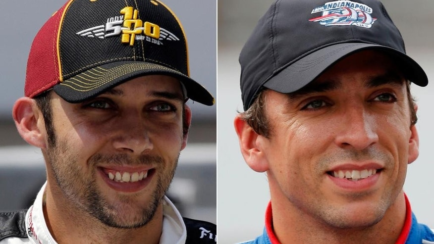 FILE - At left is a May 21, 2016, file photo showing IndyCar driver Bryan Clauson. At right, in a May 16, 2015, file photo,  is IndyCar driver Justin Wilson. The IndyCar season has just four races left, and the next one _ at Pocono Raceway on Sunday _ has the paddock thinking about a lot more than the race. The series has a double dose of sadness to contend with _ the death a year ago of 37-year-old Justin Wilson after he was struck in the helmet by debris during the Pocono race, and the death just over a week ago of 27-year-old Bryan Clauson after a stunning crash in an open-wheel event in Kansas. (AP Photo/File)