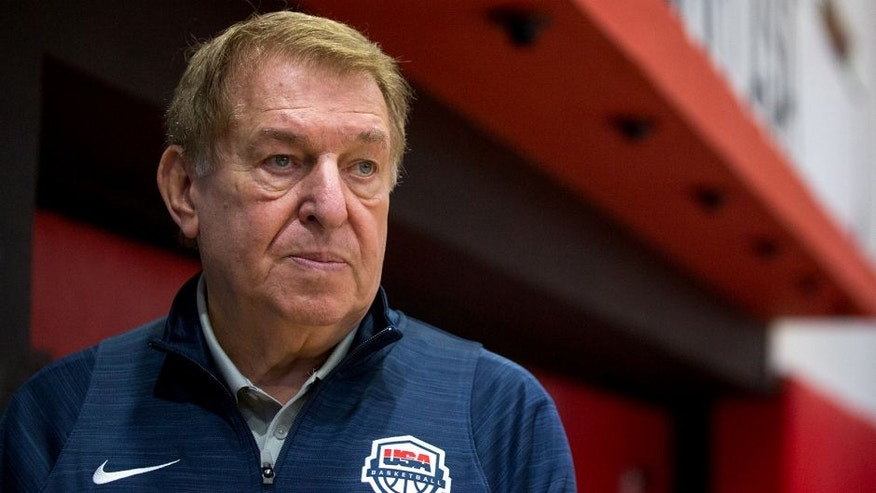 USA men's Olympic basketball managing director Jerry Colangelo watches practice at the Flamengo Club in Rio de Janeiro on Thursday, Aug. 11, 2016.