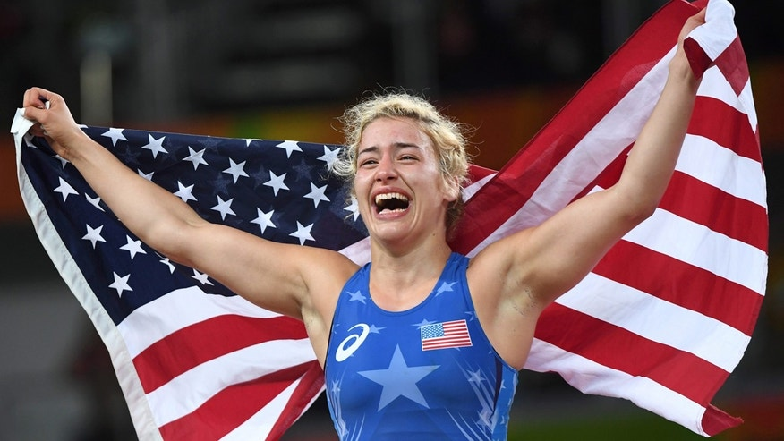 Aug. 18, 2016: United States' Helen Louise Maroulis celebrates after beating Japan's Saori Yoshida for the gold during the women's wrestling freestyle 53-kg competition at the 2016 Summer Olympics in Rio de Janeiro, Brazil.