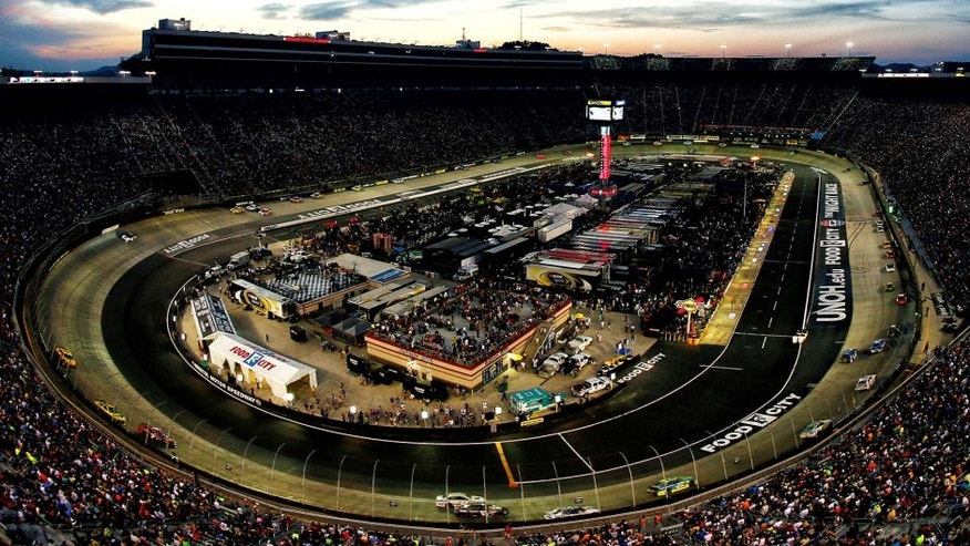 BRISTOL, TN - AUGUST 22: A view of cars racing during the NASCAR Sprint Cup Series IRWIN Tools Night Race at Bristol Motor Speedway on August 22, 2015 in Bristol, Tennessee. (Photo by Tom Pennington/Getty Images)
