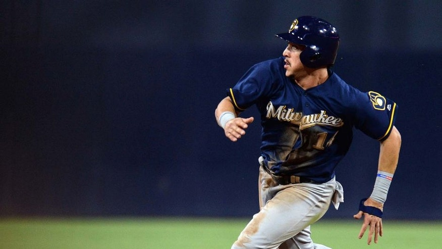 Tuesday, Aug. 2, 2016: Milwaukee Brewers third baseman Hernan Perez rounds the bases to score on a double by first baseman Chris Carter (not pictured) during the sixth inning against the San Diego Padres at Petco Park in San Diego.