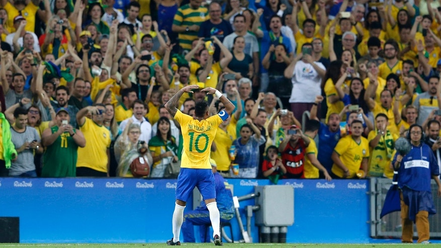 Aug. 20, 2016: Brazil's Neymar celebrates scoring his side's first goal during the final of the men's Olympic football tournament between Germany and Brazil at Maracana stadium in Rio de Janeiro, Brazil.