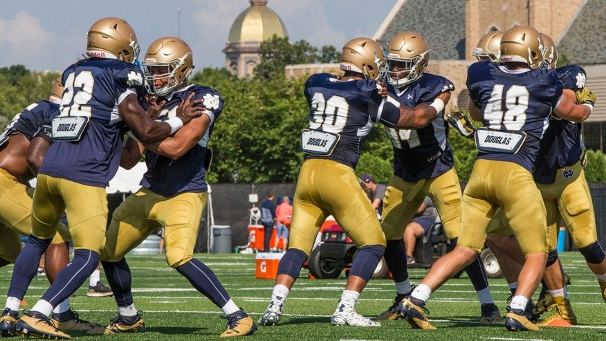 Aug. 17, 2016: Notre Dame NCAA college football linebackers practice during Notre Dame Football Media Day.