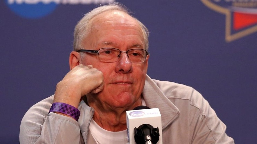 <p>prior to the 2016 NCAA Men's Final Four at NRG Stadium on March 31, 2016 in Houston, Texas.,HOUSTON, TEXAS - MARCH 31: Head coach Jim Boeheim of the Syracuse Orange reacts during a press conference prior to the 2016 NCAA Men's Final Four at NRG Stadium on March 31, 2016 in Houston, Texas. (Photo by Streeter Lecka/Getty Images)</p>