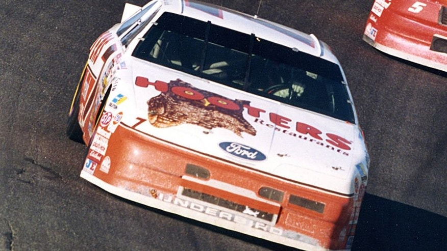 HAMPTON, GA - NOVEMBER 15, 1992: Alan Kulwicki's 'Underbird' Ford Thunderbird battled with eventual race winner Bill Elliott until late in the Hooters 500 when Kulwicki fell back into a comfortable second place finish. Second at Atlanta International Raceway was enough to earn Kulwicki the 1992 Winston Cup points championship. (Photo by ISC Archives via Getty Images)