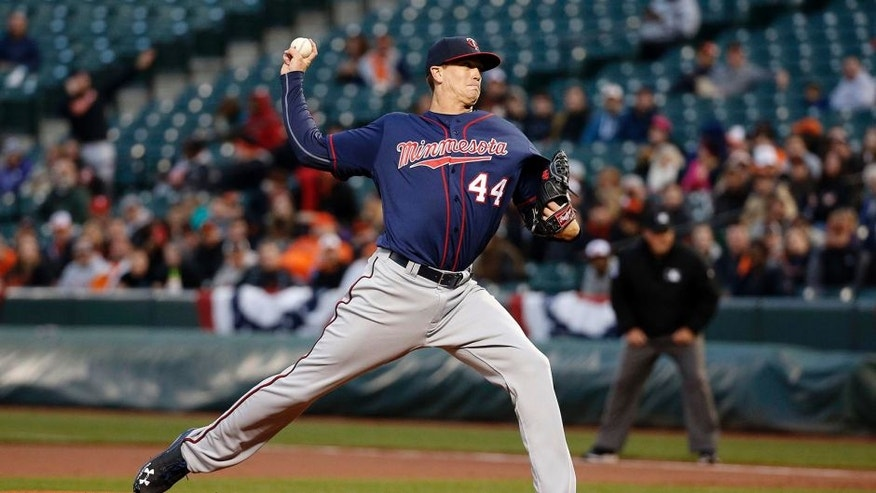 Minnesota Twins starting pitcher Kyle Gibson throws to the Baltimore Orioles in the first inning of a baseball game in Baltimore, Wednesday, April 6, 2016. (AP Photo/Patrick Semansky)