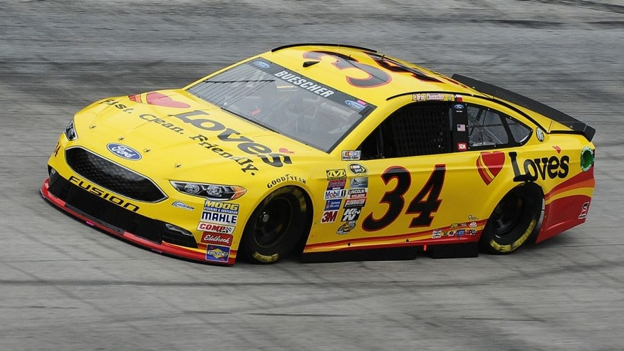 BRISTOL, TN - AUGUST 19: Chris Buescher, driver of the #34 Love's Travel Stops Ford, practices for the NASCAR Sprint Cup Series Bass Pro Shops NRA Night Race at Bristol Motor Speedway on August 19, 2016 in Bristol, Tennessee. (Photo by Rainier Ehrhardt/NASCAR via Getty Images)