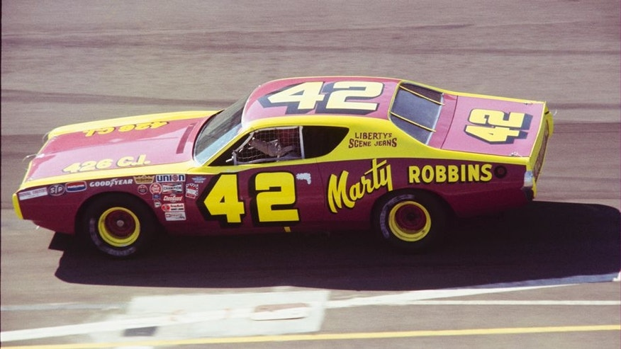 UNITED STATES - MARCH 06: 1972 Miller 500 - NASCAR - Ontario Motor Speedway. Marty Robbins drives the KLAC 570 Dodge to an eighth place finish. (Photo by Gerry Stiles/The Enthusiast Network/Getty Images)