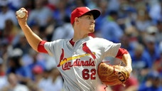 St. Louis Cardinals starting pitcher Luke Weaver throws against the Chicago Cubs during the first inning of a baseball game, Saturday, Aug. 13, 2016, in Chicago. (AP Photo/David Banks)
