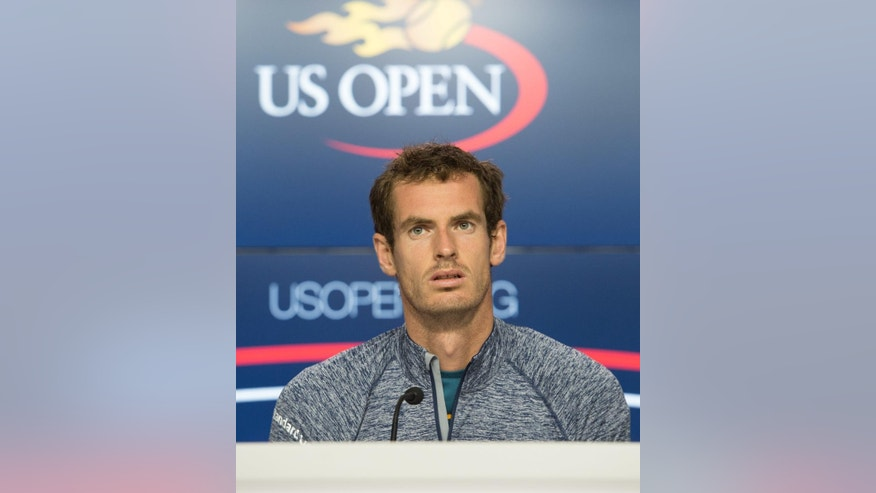 Andy Murray, of Britain, speaks during a media availability for the U.S. Open at the Billie Jean King National Tennis Center, Friday, Aug. 26, 2016, in New York. (AP Photo/Bryan R. Smith)
