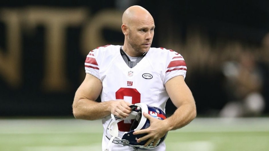 NEW ORLEANS, LA - NOVEMBER 1: Josh Brown #3 of the New York Giants looks on during the game against the New Orleans Saints at the Mercedes-Benz Superdome on November 1, 2015 in New Orleans, Louisiana. The Saints defeated the Giants 52-49. (Photo by Rob Leiter via Getty Images)
