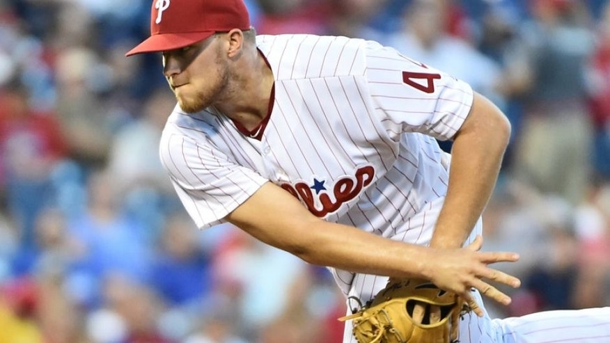 Aug 17, 2016; Philadelphia, PA, USA; Philadelphia Phillies starting pitcher Jake Thompson (44) throws a pitch during the first inning against the Los Angeles Dodgers at Citizens Bank Park. Mandatory Credit: Eric Hartline-USA TODAY Sports