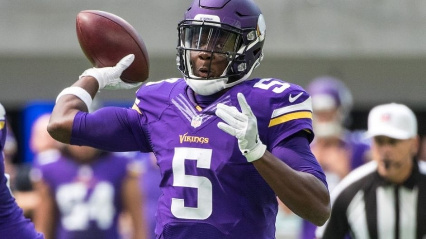 Aug 28, 2016; Minneapolis, MN, USA; Minnesota Vikings quarterback Teddy Bridgewater (5) throws the ball during the first quarter in a preseason game against the San Diego Chargers at U.S. Bank Stadium. Mandatory Credit: Brace Hemmelgarn-USA TODAY Sports