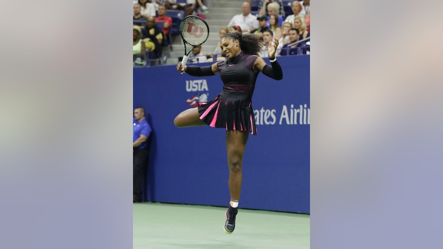 Serena Williams, of the United States, jumps during her match against Ekaterina Makarova, of Russia, during the first round of the U.S. Open tennis tournament, Tuesday, Aug. 30, 2016, in New York. (AP Photo/Darron Cummings)