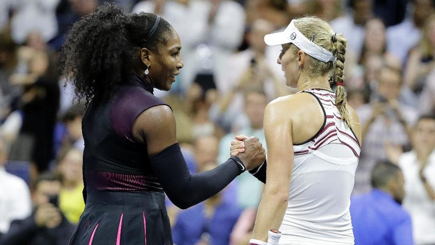Serena Williams is congratulated by Ekaterina Makarova, of Russia, after Williams defeated Makarova in the first round of the U.S. Open tennis tournament, Tuesday, Aug. 30, 2016, in New York. (AP Photo/Darron Cummings)
