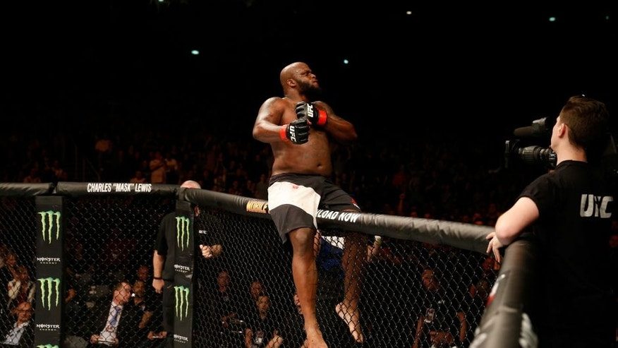 ZAGREB, CROATIA - APRIL 10: Derrick Lewis celebrates his knock out victory over Gabriel Gonzaga in their heavyweight bout during the UFC Fight Night event at the Arena Zagreb on April 10, 2016 in Zagreb, Croatia. (Photo by Srdjan Stevanovic/Zuffa LLC/Zuffa LLC via Getty Images)