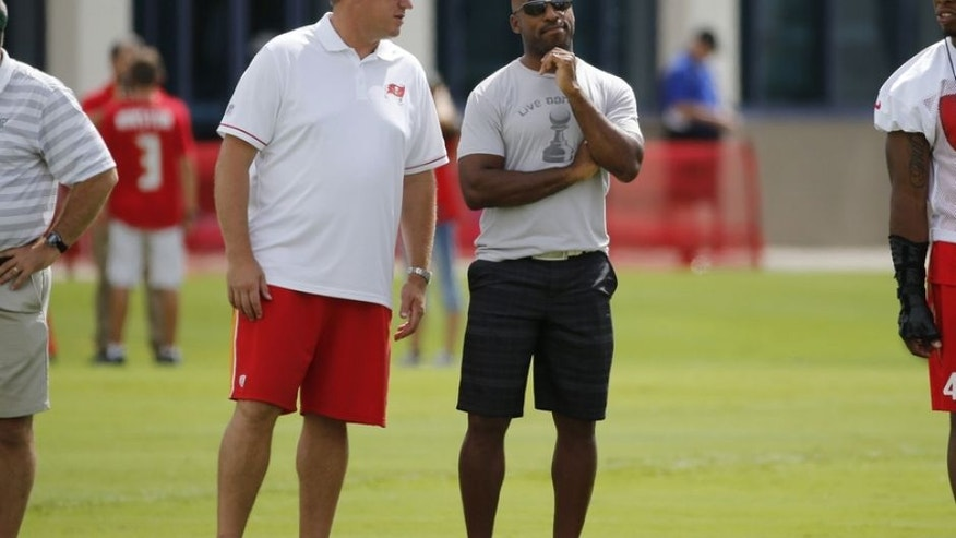 Jul 30, 2016; Tampa, FL, USA; Tampa Bay Buccaneers general manager Jason Licht and former player Ronde Barber look on during workouts at One Buccaneer Place. Mandatory Credit: Kim Klement-USA TODAY Sports
