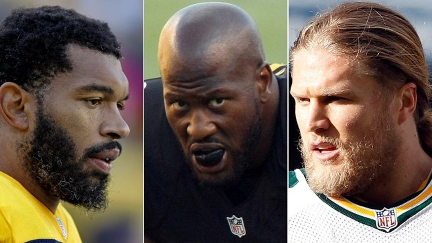 From left: Julius Peppers, James Harrison, Clay Matthews.